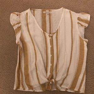 Gold and white striped tie front shirt. Cute! XS
